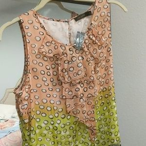 Sleevless pinky /peach, green & gray Top Large